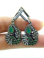 TURKISH OTTOMAN EMERALD 925 STERLING SILVER HURREM SULTAN EARRINGS E1066