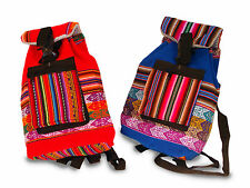 """Child Toy Bag School Pouch Cotton 8""""x10"""" Fair Trade Back Pack Tote Peru Sanyork"""