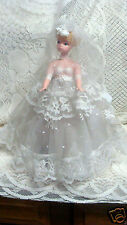 """Vintage Bride Doll & stand 12"""" Blonde vinyl face and hard plastic body beautiful"""