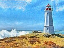 LANDSCAPE PAINTING LIGHTHOUSE SKY SEA WAVE POSTER ART PRINT HOME PICTURE BB894A