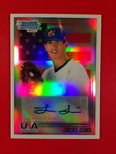 2010 Bowman Chrome USA Lucas Sims Refractor Auto Autograph #'d 100/199