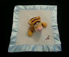 "Disney Winnie the Pooh Tigger Blue White Security Blanket Lovey Satin Trim 10"""