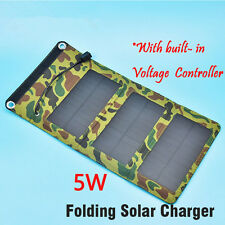 5V 5W Folding Solar Panel Kit Camping Mobile Cell Phone MP4 Camera USB Charger