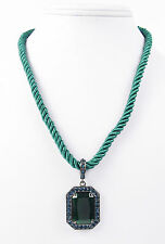 ABS by Allen Schwartz Blue Pave Hematite-Tone Green Pendant Cable Necklace