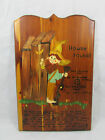 Vintage Hand Painted Wall Hanging Decor Wood Art Funny Poem