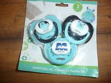 Disney Monster's Inc Sullivan 3 Pack Pacifier Set  Monsters Inc. NEW NWT