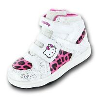 Girls Hello Kitty Voila Hi Top White Trainers Shoe Sizes 8-2