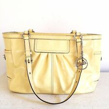 AUTHENTIC COACH Patent Leather East West Gallery Tote Yellow Purse F13761 $298
