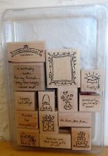 2004 Stampin Up FRAMED GREETINGS 14 pc RUBBER INK STAMP SET 2 step stamping