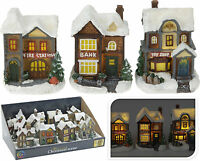 Christmas Decoration Ornament 12 Designs Light Up Snow Covered Christmas House