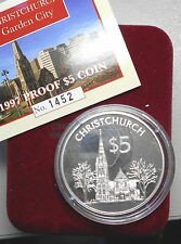 New Zealand 1997 Christchurch City  Silver Proof $5 coin Nice