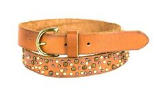 J CREW Brown Leather Boho Belt Size SMALL Beads Studs Gold Buckle New w Tags $58
