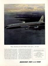 1958 BOEING 707  Jetliner Plane Inside Flying in Air PRINT AD