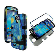 Hybrid Blk Blue Design 3 in 1 Samsung Galaxy S 4 IV i9500 Cover Case