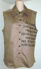 I.D.X.  IDX Brown Sleevless Button Front Vest Shirt Size Medium New NWT