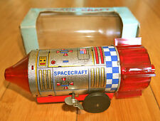 VINTAGE MECHANICAL SPACE CRAFT TOY RARE 1969 DAIYA BOXED CLOCKWORK TINPLATE