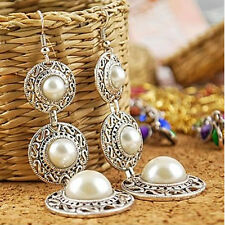 Unique Retro Jewellery Tibetan Silver Pearl Inlay Rhinestone Dangle Earrings NEW