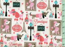 1/2 yard FLANNEL Paris Eiffel Tower French Poodle Dogs on White BTHY