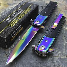 "8.5"" TAC FORCE STILETTO SPRING ASSISTED TACTICAL POCKET KNIFE Blade Rainbow Open"