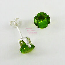 6mm ROUND Peridot Green POST STUD EARRINGS in Sterling Silver 925 Settings