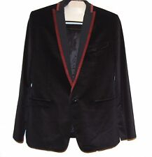 Dolce & Gabbana Black Red Lining Men's Velvet Blazer Jacket Sz US 42 EU 52 $995