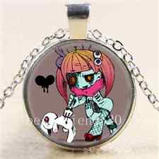 Original Zombie Girl Cabochon Glass Tibet Silver Chain Pendant Necklace
