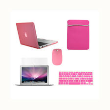"5in1 Rubberized PINK Case for Macbook PRO 13"" + Keyboard Cover +LCD + Bag +Mouse"