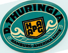 HAMBURG AMERIKA Linie ~D. Thuringia~ Scarce STEAMSHIP Luggage label, 1927