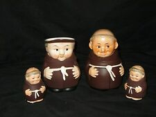 Vintage Goebel Frier Tuck Monk - Creamer, Sugar Bowl, Salt & Pepper Shaker