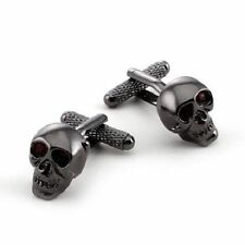 Onyx-Art CK904 Skull Shiny Design Metallic Cufflinks plus FREE Premier Life Pen