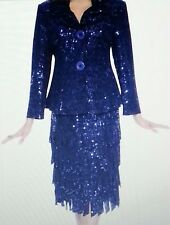 Nubiano Sequin 2 Piece Skirt Suit 22 24 2X Wedding Plus Size Blue Set NWT New