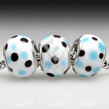 5pcs Sliver Murano Glass Bead Lampwork Fit European Charm Bracelet Lots 14x10mm