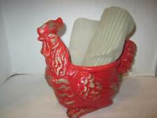 """French country ceramic rooster statue vase pot towel holder red beige 9"""""""