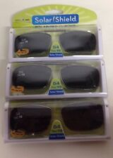 3 SOLAR SHIELD Clip-on Polarized Sunglasses Size 54 Rec 19 Black Full Frame NEW