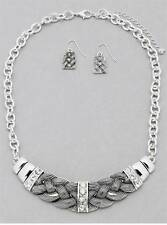 DESIGNER INSPIRED SILVER TONE METAL WORK BRAIDED LOOK CLEAR CRYSTAL NECKLACE SET