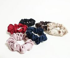 Solid Color Thin Satin Scrunchies A Set of 6 Satin Ponytail Holders Scrunchies