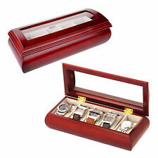 Mele & Co. Jewellery Box For 5 Watch Box Cherry Wood Finish Travel  Display 453