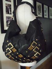NEXT BLACK FAUX LEATHER & GOLD BUCKLE DESIGN TOTE/ SHOULDER  BAG
