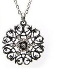 Bohemian Black Silver Flower Pendant Costume Jewellery Tibetan Long Necklace