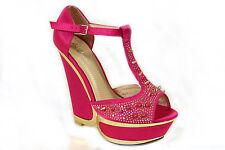 NEW WOMENS LADIES MARY JANE PLATFORM HIGH HEEL DEMI WEDGE PARTY SHOES SIZE 3-8