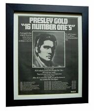 ELVIS PRESLEY+GOLD NUMBER ONE'S+POSTER+AD+FRAMED+ORIGINAL 1977+FAST GLOBAL SHIP