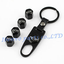 Key chain Black Metal Car Wheel Tyre Tire Stem Air Valve Cap For MINI Cooper