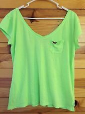 *HOLLISTER* Women's Juniors Neon Green Pocket Shirt Top Size M