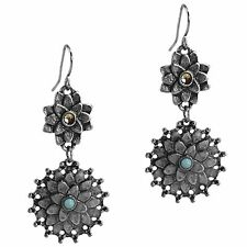 Claires Antiqued Silver Flower Dangle Drop Earrings