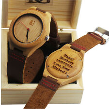 Engraved Wooden Watch Personalised Leather Luxury Unisex Gents Ladies  Wood Box