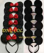 10 MINNIE MICKEY SOLID S BLACK & RED SEQUIN BOW EAR HEADBANDS BIRTHDAY FAVORS