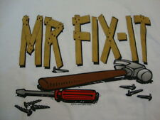 """Vintage """"Mr. Fix It"""" Fathers Day Dad Tools Cartoon Funny White T Shirt XL"""