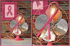Retro Re-purposed Pink Ribbon Breast Cancer Awarness Electric Fan Upcycled Lamp