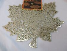 New Fall Thanksgiving Vinyl Gold Maple Leaves Placemats Decorations 4 8 12