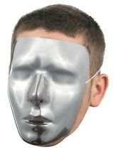 Men's Male Blank Silver Chrome Halloween Costume Face Mask Facemask